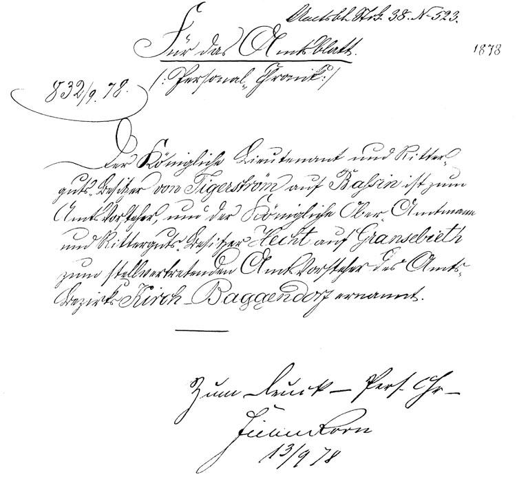 Urkunde Amtsvorsteher